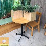 bàn chân sắt mặt gỗ tròn