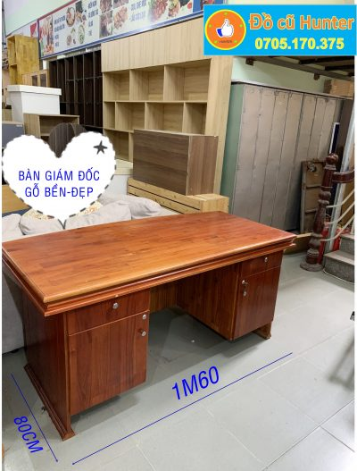 bàn giám đốc gỗ vàng
